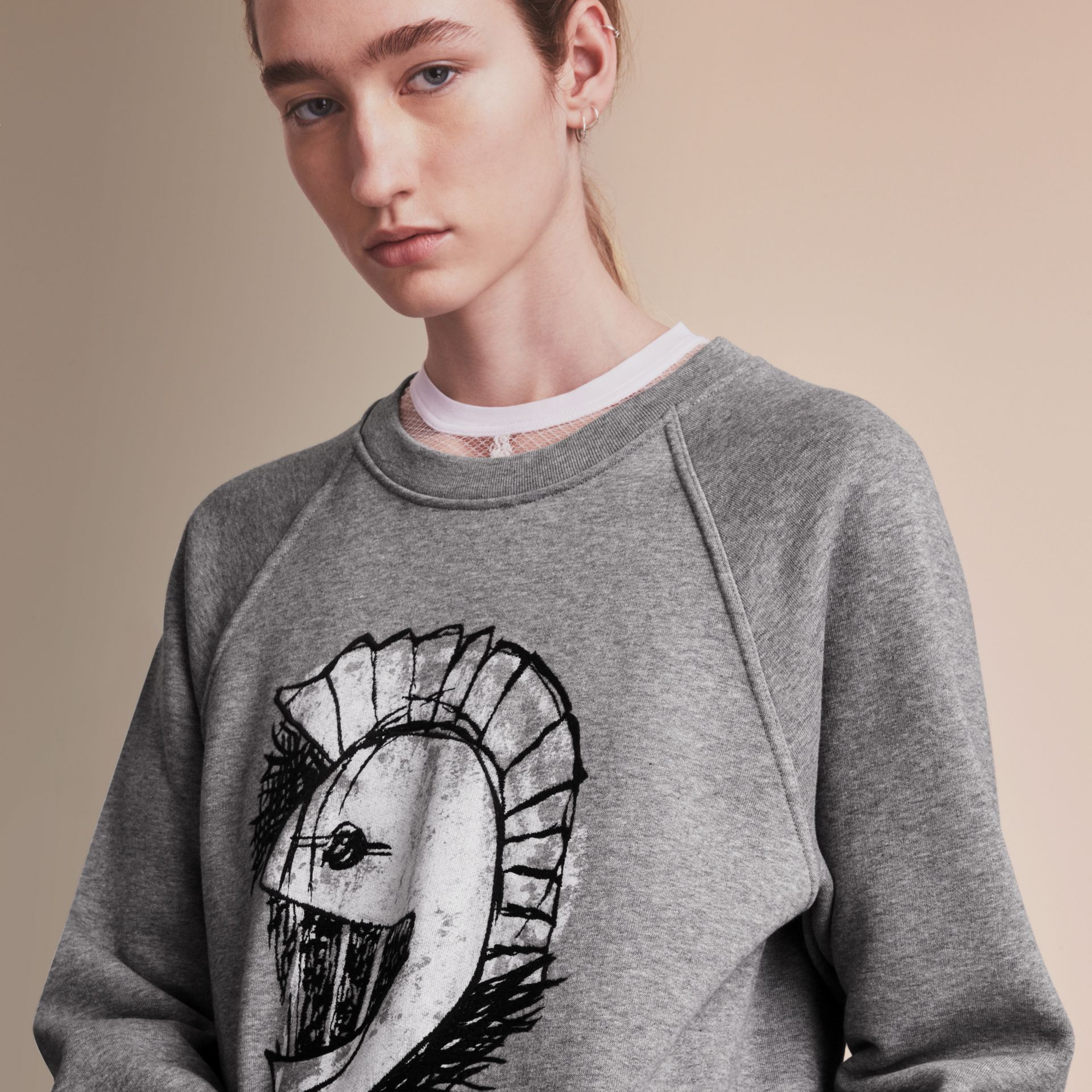 Unisex Pallas Helmet Motif Sweatshirt in Grey Melange - Women | Burberry - gallery image 6