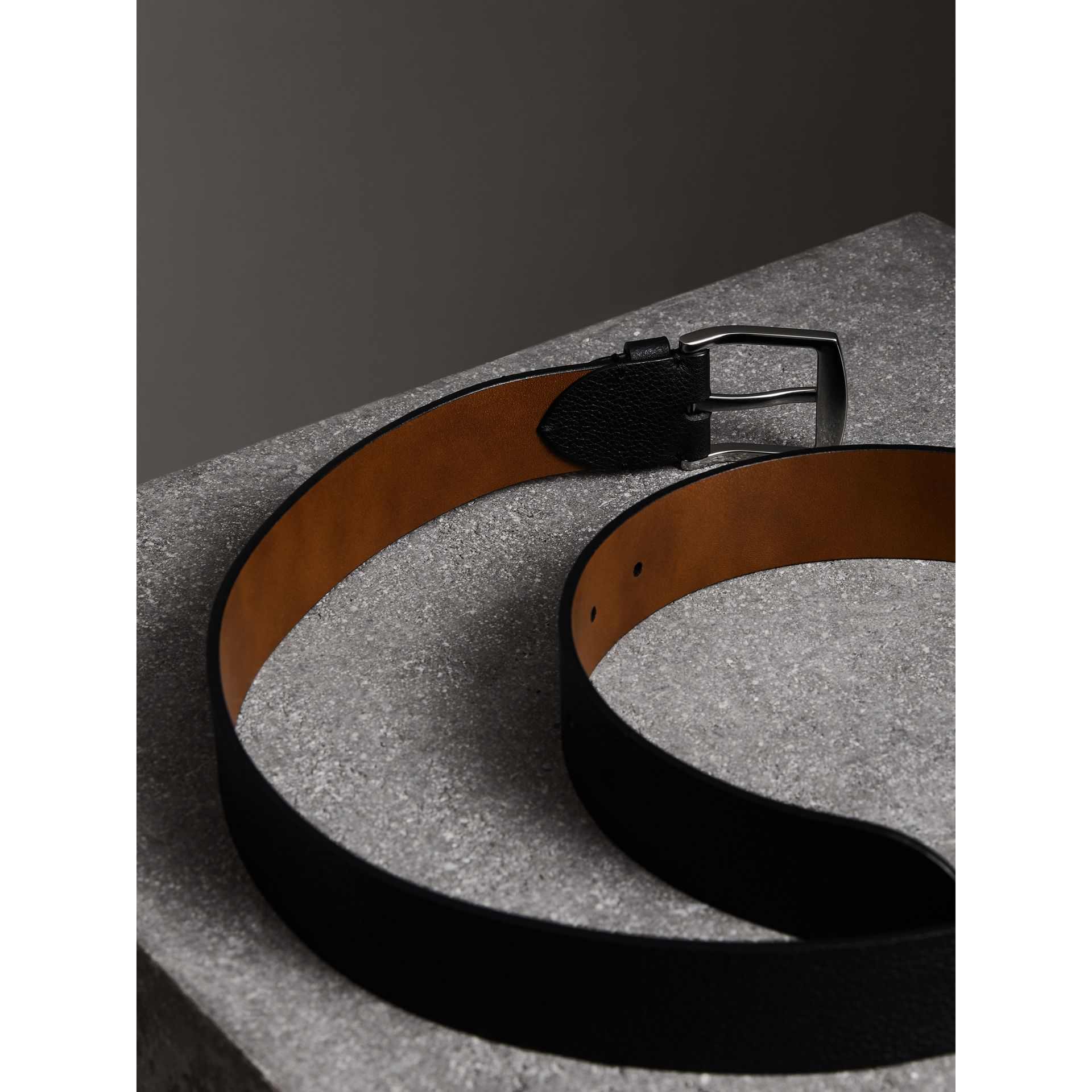 Grainy Leather Belt in Black - Men | Burberry United Kingdom - gallery image 3