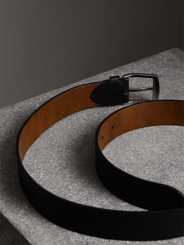 Grainy Leather Belt in Black - Men | Burberry United Kingdom - cell image 3