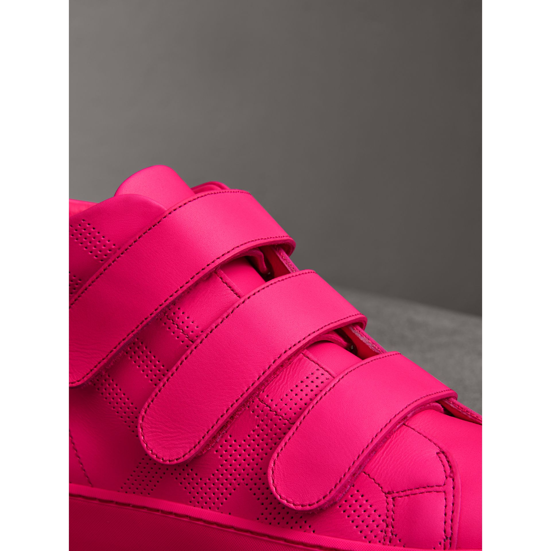 Perforated Check Leather High-top Trainers in Neon Pink - Women | Burberry - gallery image 1