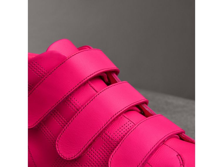 Perforated Check Leather High-top Trainers in Neon Pink - Women | Burberry - cell image 1