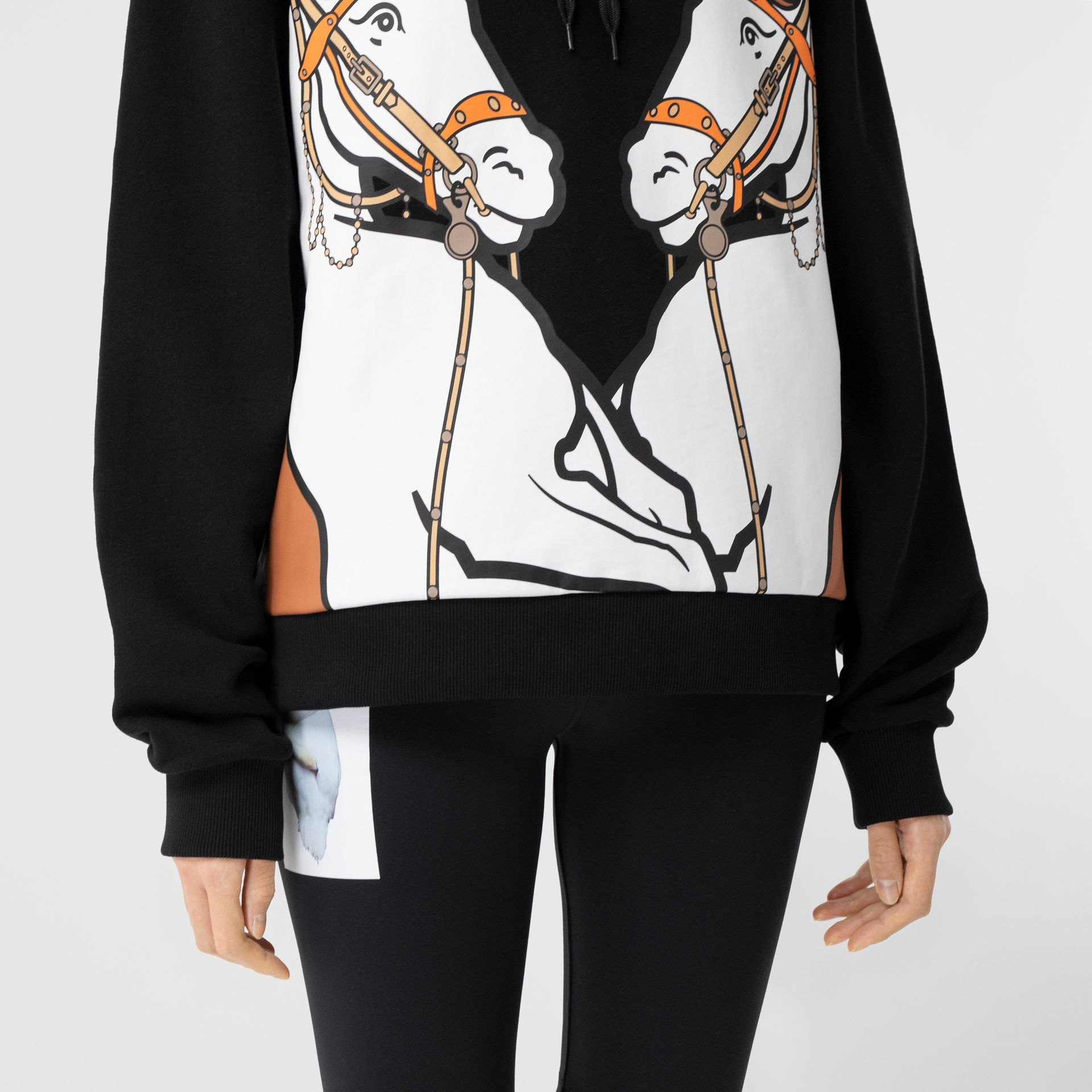 Unicorn Print Cotton Oversized Hoodie in Black - Women | Burberry Hong Kong S.A.R - gallery image 4