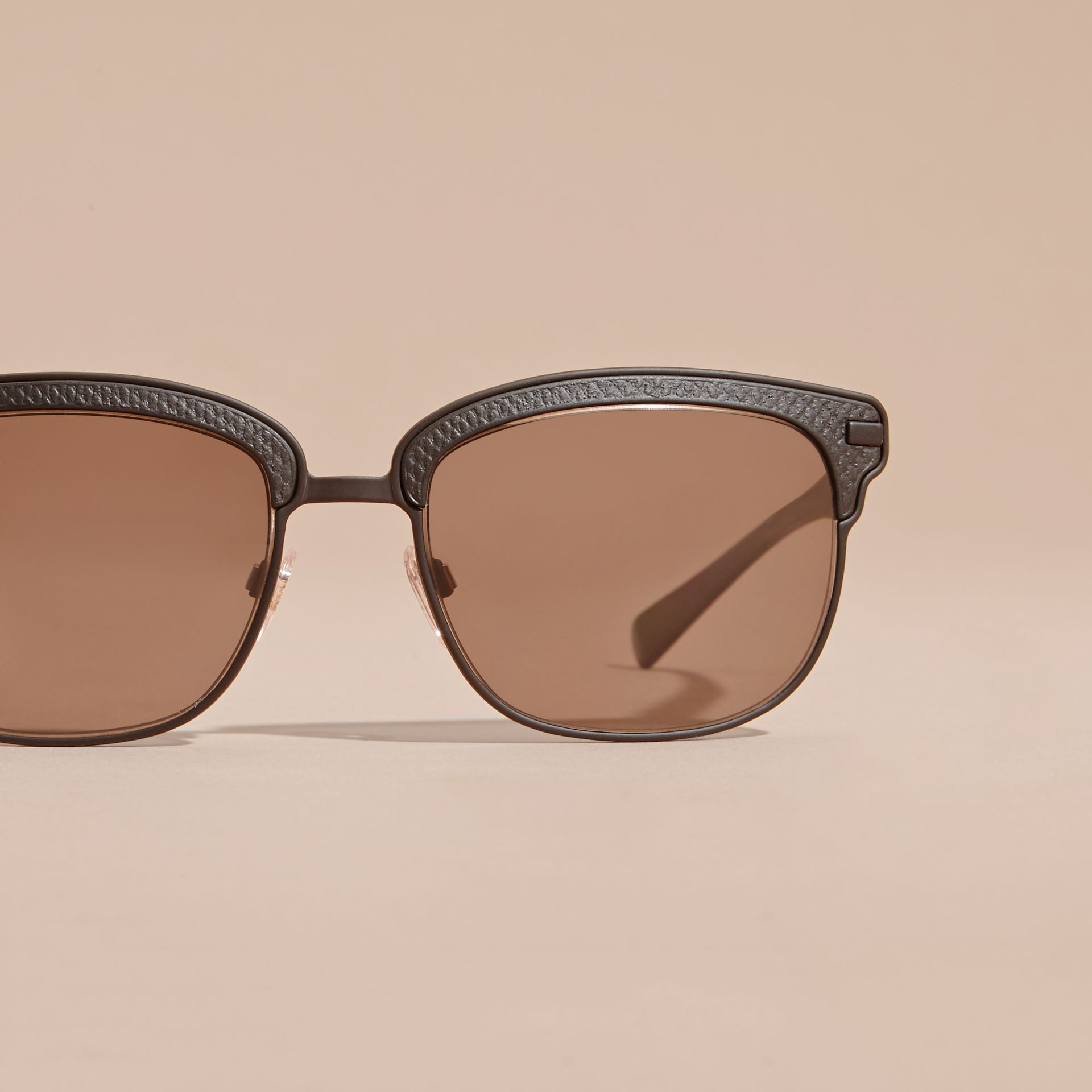 Textured Front Square Frame Sunglasses in Black - Men | Burberry Australia - gallery image 3