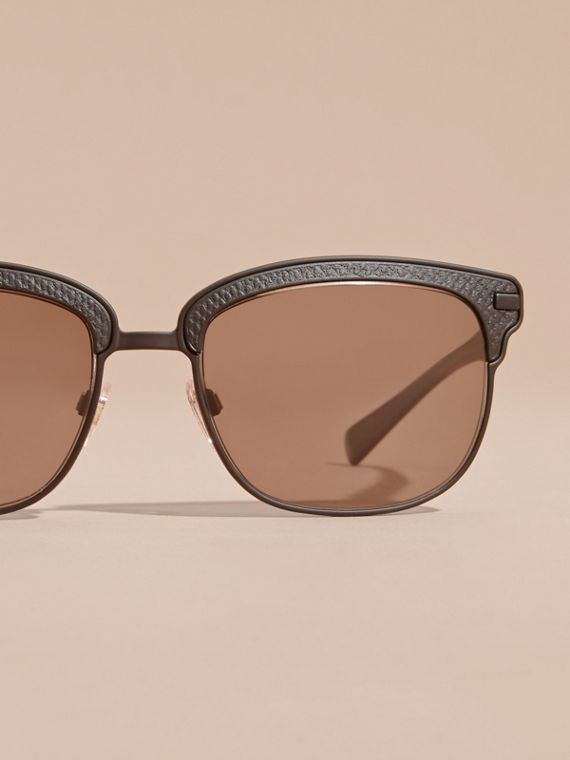 Textured Front Square Frame Sunglasses in Black - Men | Burberry Hong Kong - cell image 2