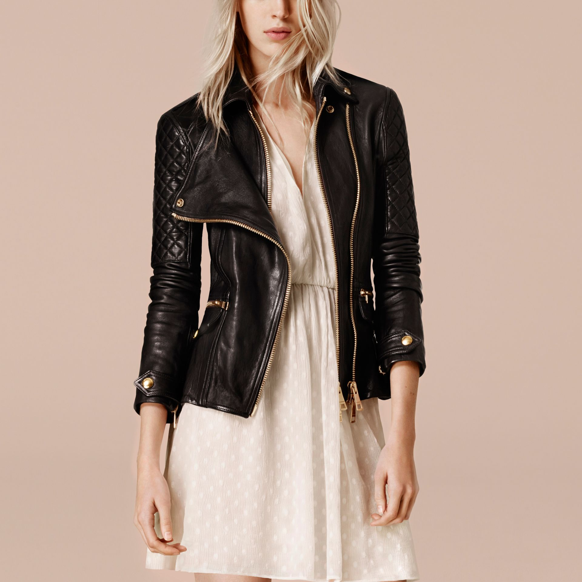 Black Diamond Quilt Detail Leather Biker Jacket - gallery image 3