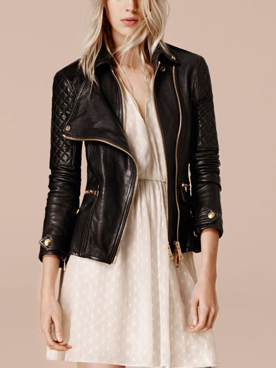 Black Diamond Quilted Detail Lambskin Biker Jacket - cell image 2