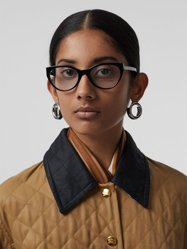 Vintage Check Detail Cat-eye Optical Frames in Black - Women | Burberry Hong Kong - cell image 2