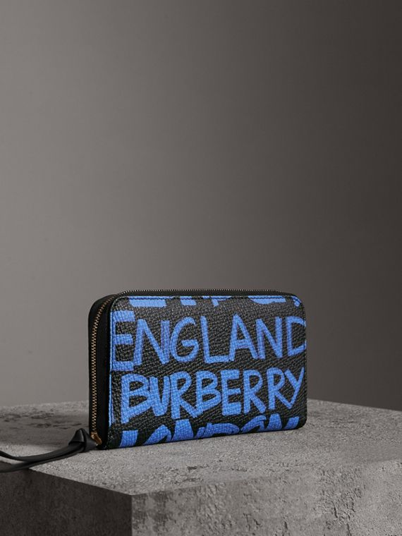 Graffiti Print Leather Ziparound Wallet in Blue/black
