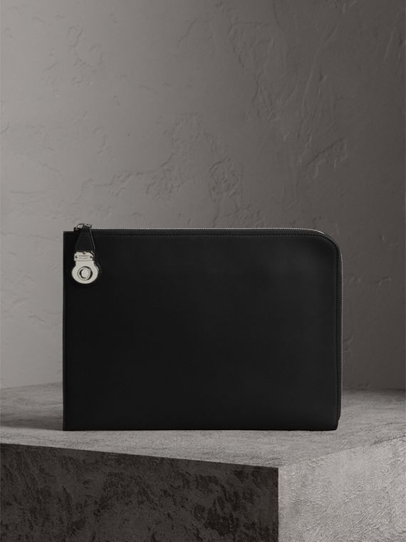 Trench Leather Document Case in Black