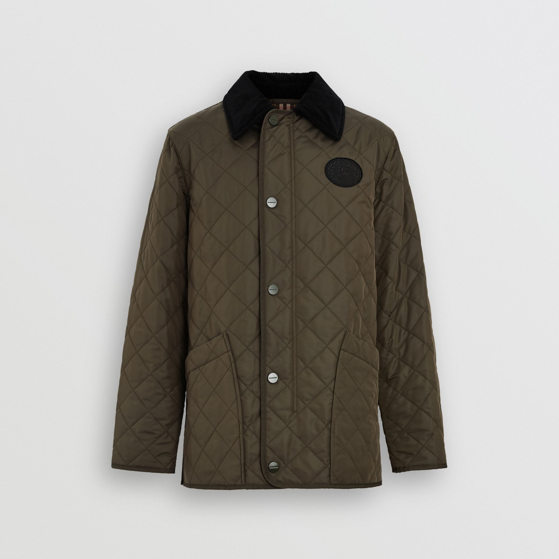 Diamond Quilted Thermoregulated Barn Jacket in Dark Olive - Men | Burberry Singapore - gallery image 7