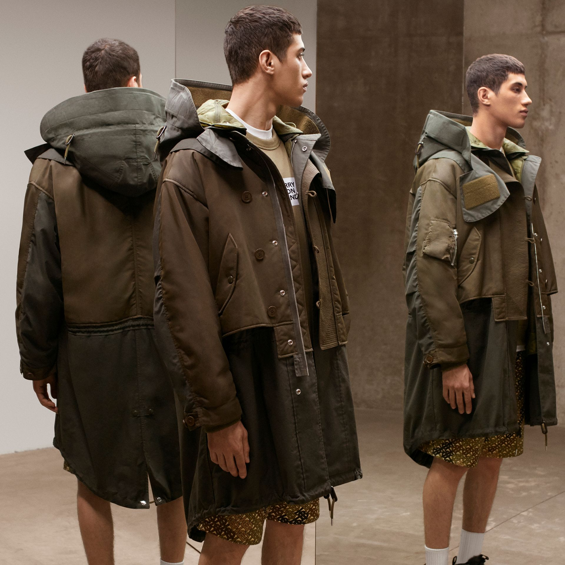 Nylon Hooded Parka with Detachable Warmer in Olive - Men | Burberry United Kingdom - gallery image 1