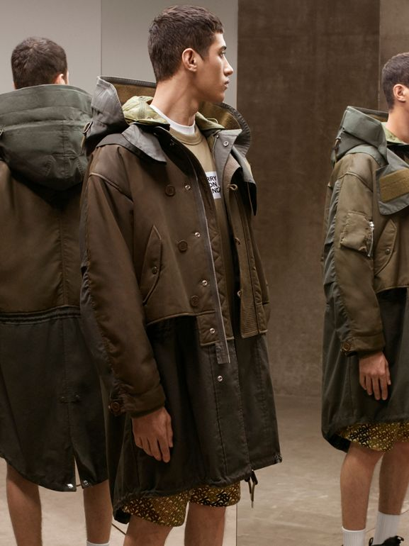Nylon Hooded Parka with Detachable Warmer in Olive - Men | Burberry United Kingdom - cell image 1