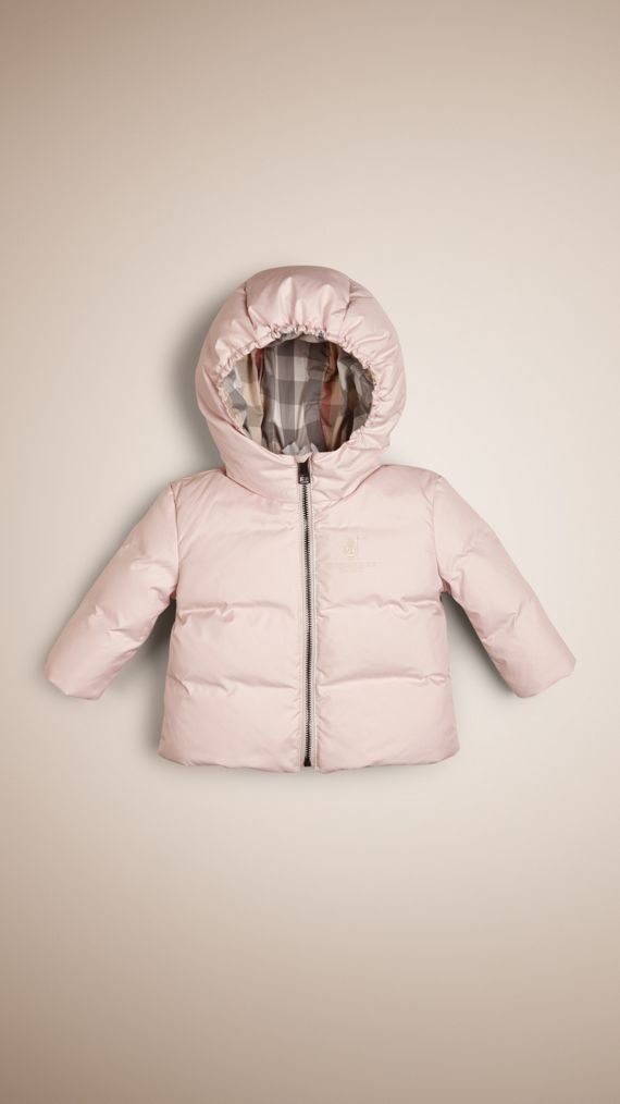 Check-Lined Puffer Jacket Ice Pink