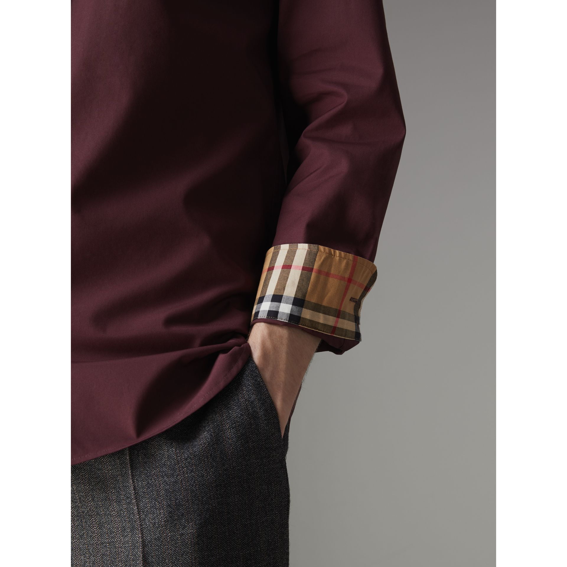 Check Cuff Stretch Cotton Poplin Shirt in Oxblood - Men | Burberry - gallery image 1