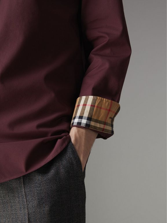 Check Cuff Stretch Cotton Poplin Shirt in Oxblood - Men | Burberry Singapore - cell image 1