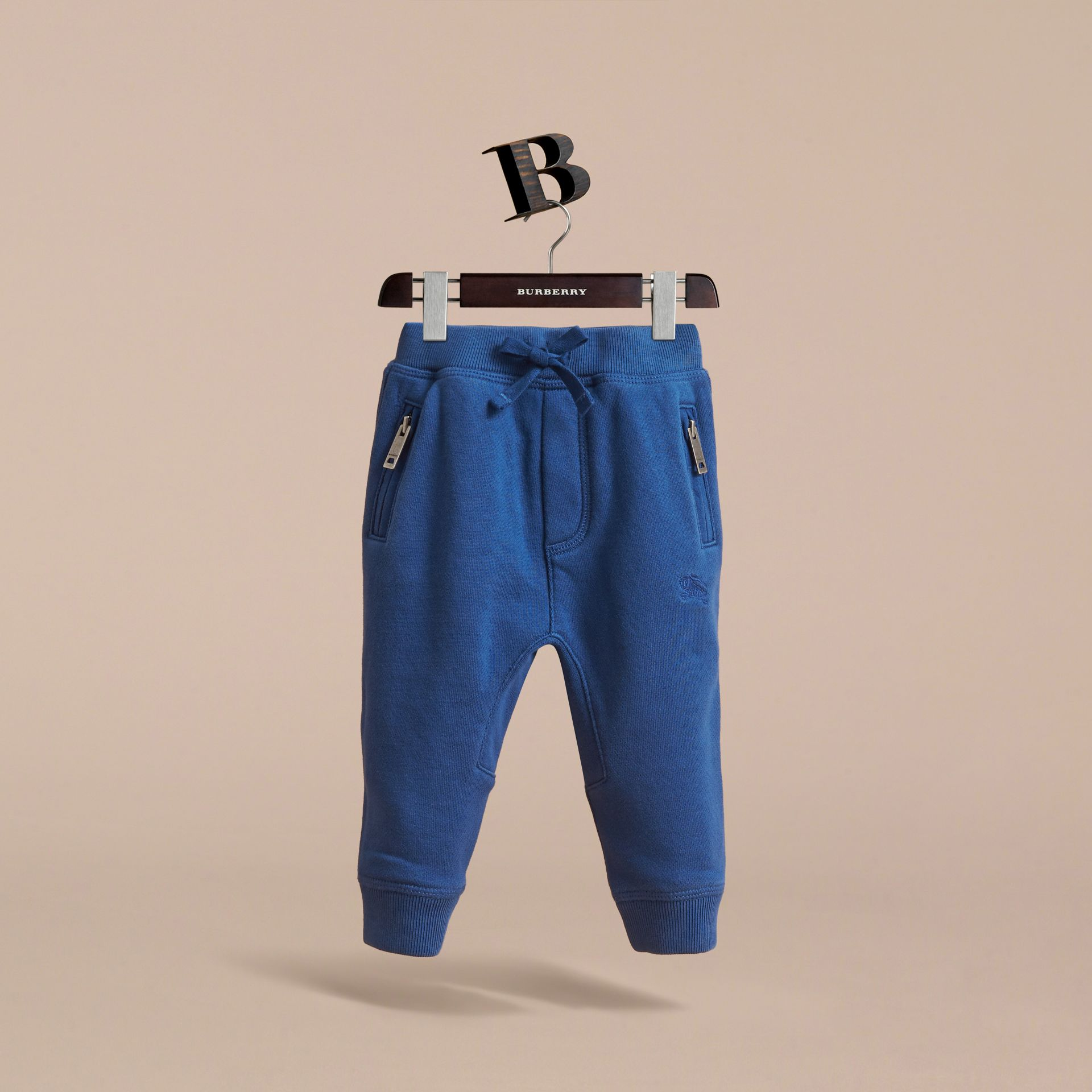Drawcord Cotton Sweatpants in Marine Blue | Burberry - gallery image 3