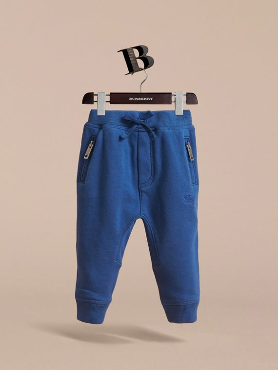 Drawcord Cotton Sweatpants in Marine Blue | Burberry - cell image 2