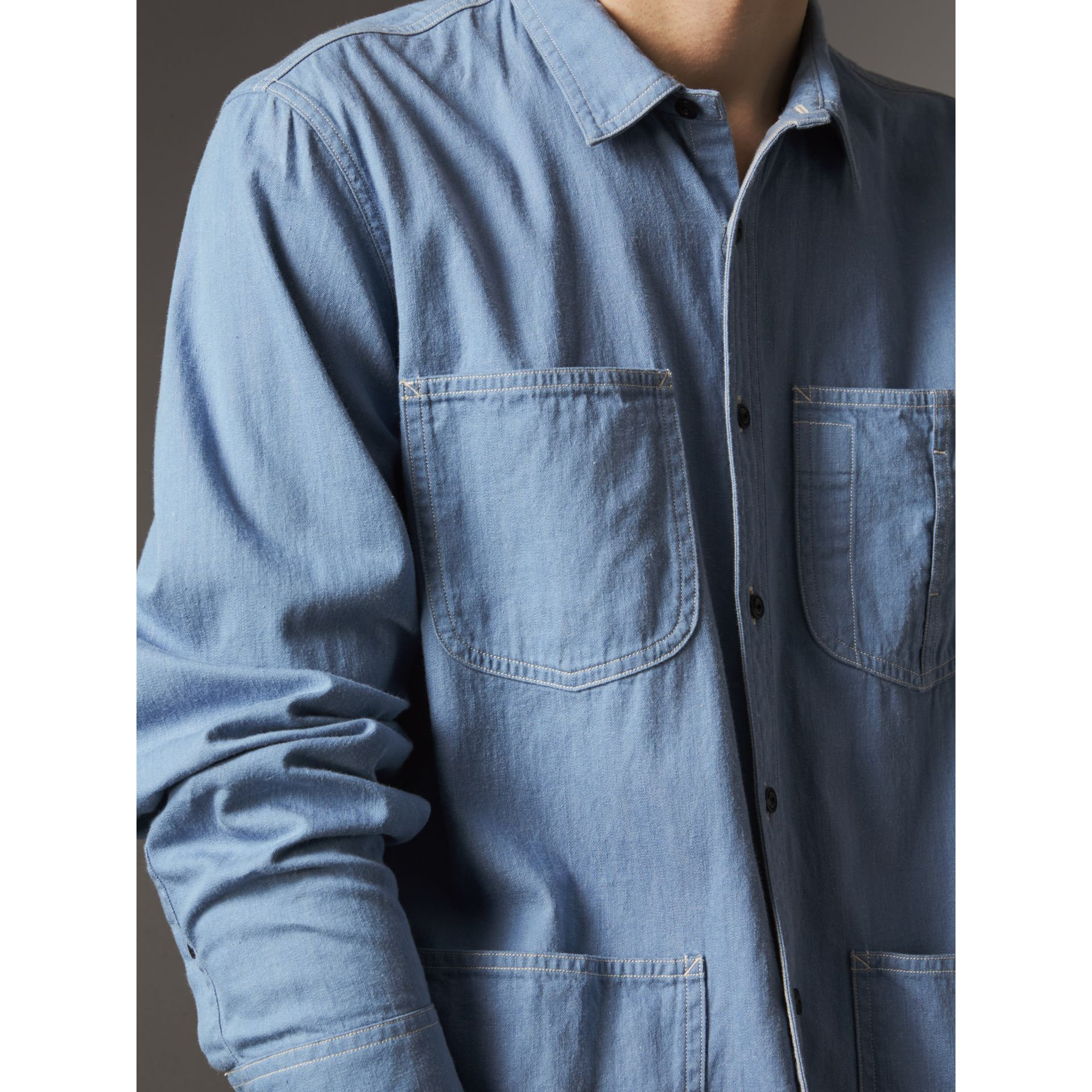 Japanese Denim Work Shirt in Light Blue - Men | Burberry - gallery image 1