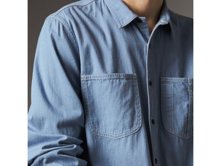 Japanese Denim Work Shirt in Light Blue - Men | Burberry United Kingdom - cell image 1