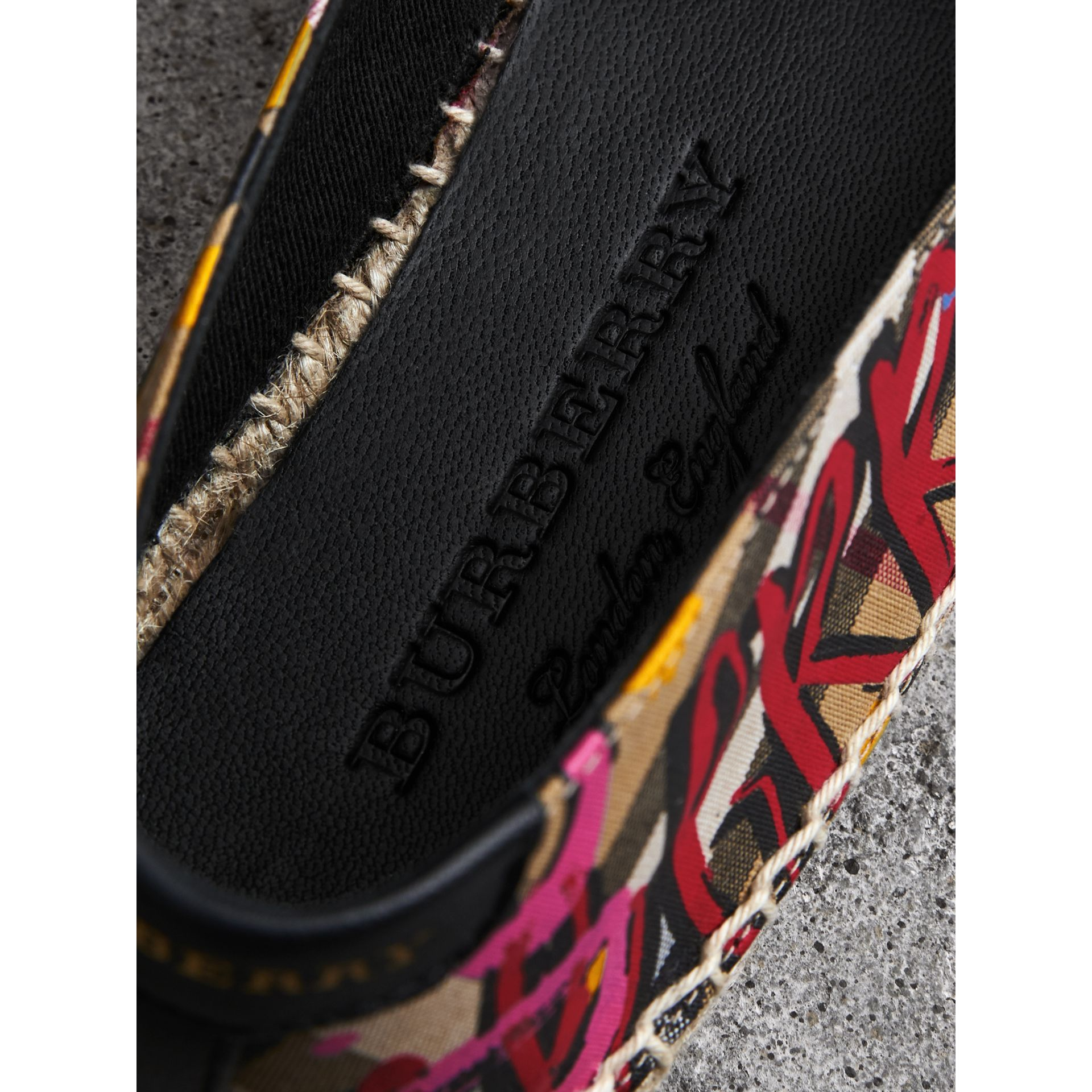 Graffiti Print Vintage Check Espadrilles in Antique Yellow - Women | Burberry Hong Kong - gallery image 1