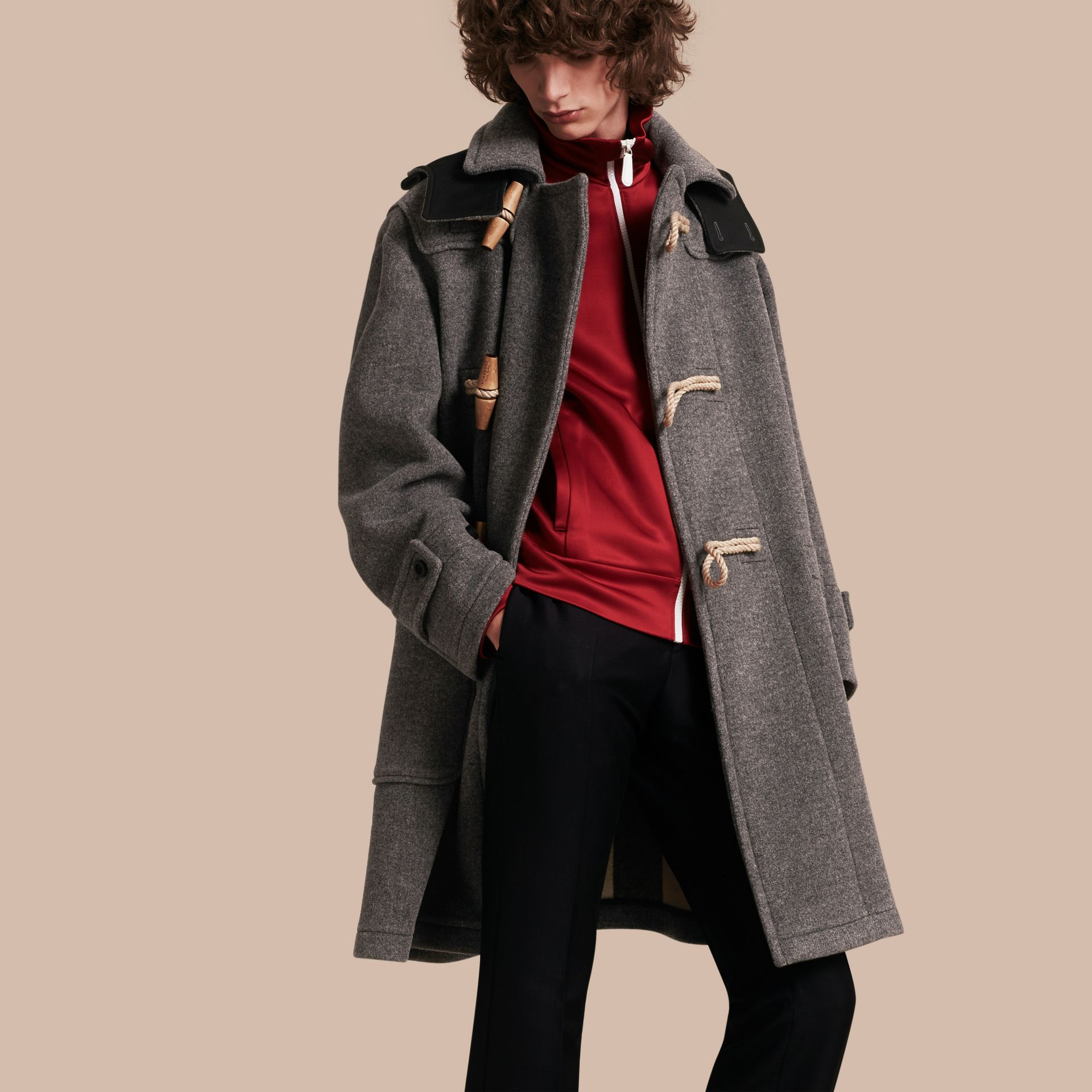 Mid grey Double Splittable Wool Blend Duffle Coat - gallery image 1