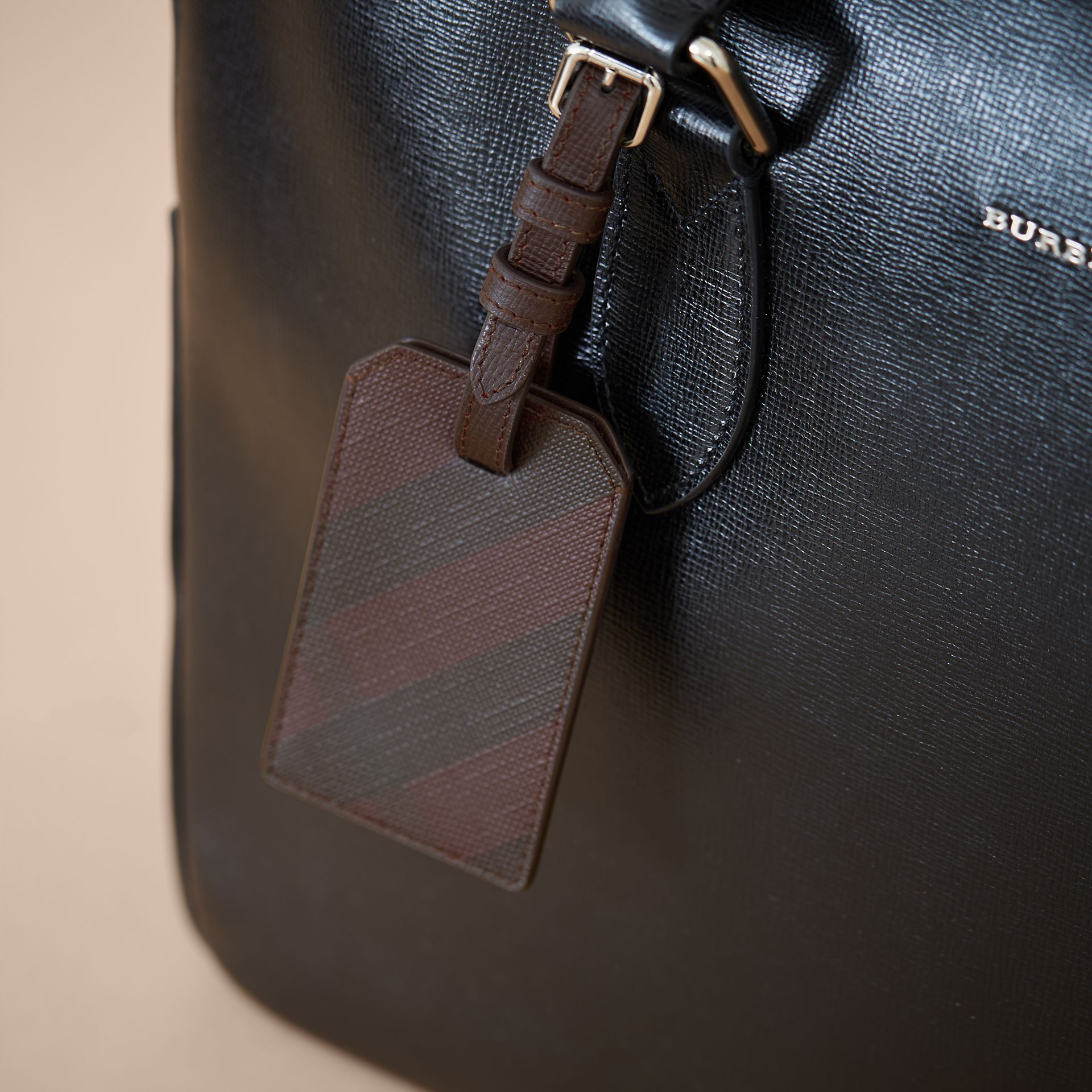 London Check Luggage Tag in Deep Claret - Men | Burberry - gallery image 3