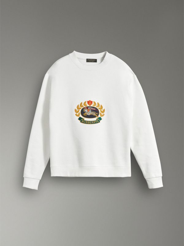 Reissued Jersey Sweatshirt in Off White - Women | Burberry Singapore - cell image 3