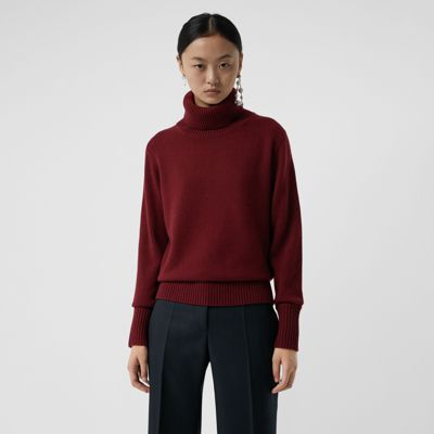 Embroidered Crest Cashmere Roll Neck Sweater by Burberry