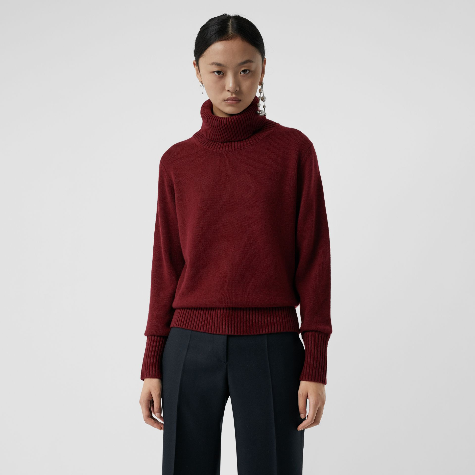 Embroidered Crest Cashmere Roll-neck Sweater in Red - Women | Burberry - gallery image 0
