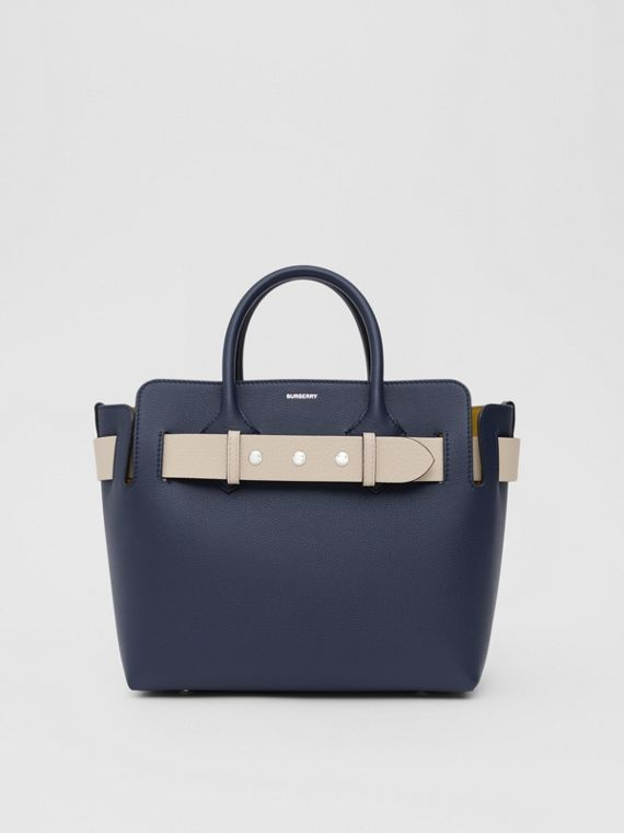 The Small Tri-tone Leather Triple Stud Belt Bag in Regency Blue