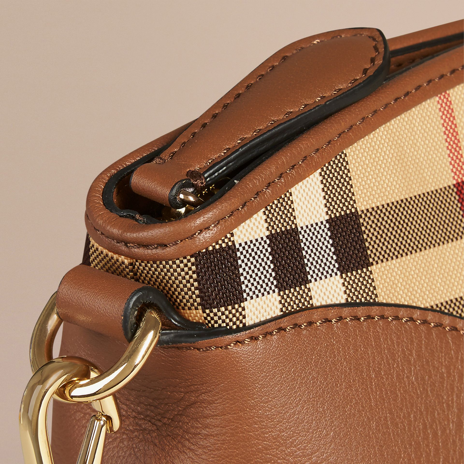 Horseferry Check and Leather Clutch Bag Honey/tan - gallery image 5