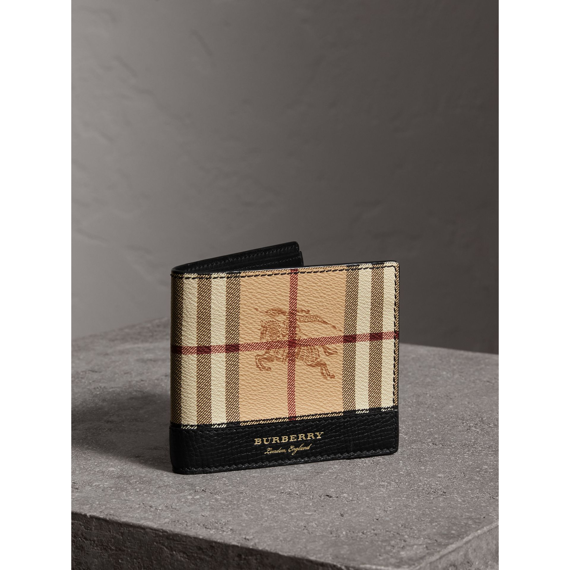 Haymarket Check and Leather International Bifold Wallet in Black - Men | Burberry Singapore - gallery image 0