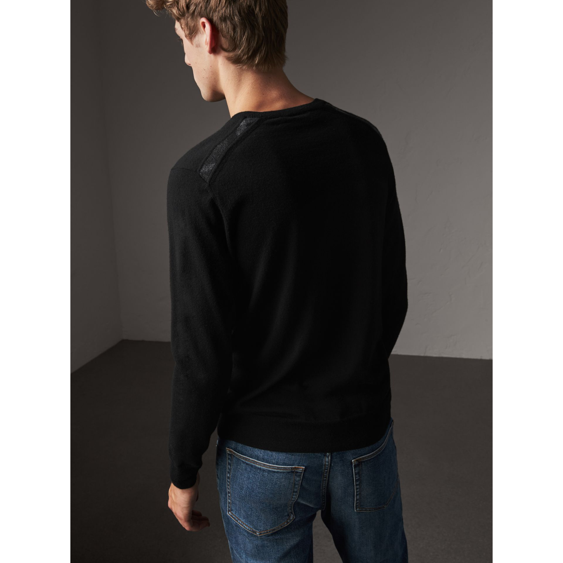 Check Jacquard Detail Cashmere Sweater in Black - Men | Burberry - gallery image 3