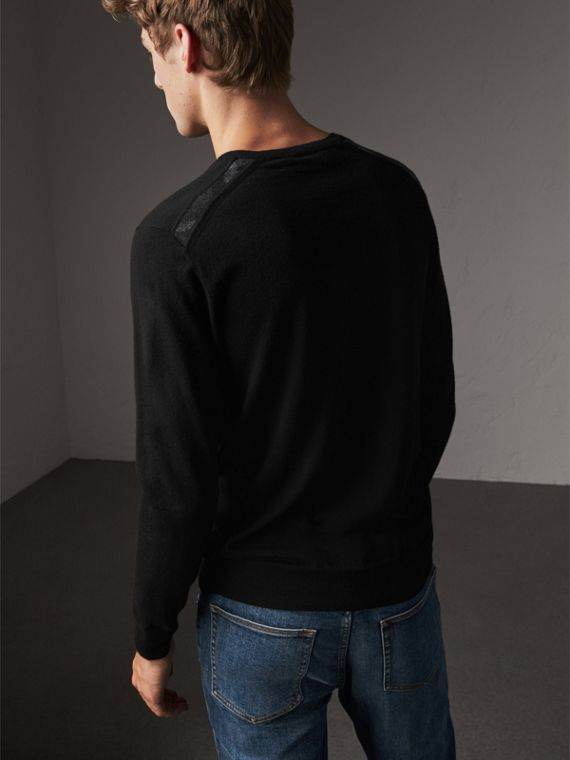 Check Jacquard Detail Cashmere Sweater in Black - Men | Burberry United Kingdom - cell image 2