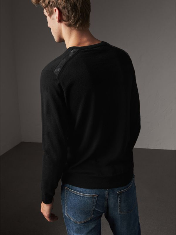 Check Jacquard Detail Cashmere Sweater in Black - Men | Burberry United States - cell image 2
