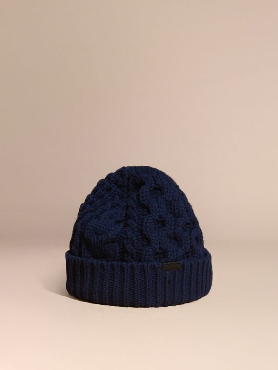 Aran Knit Wool Cashmere Beanie Dark Navy