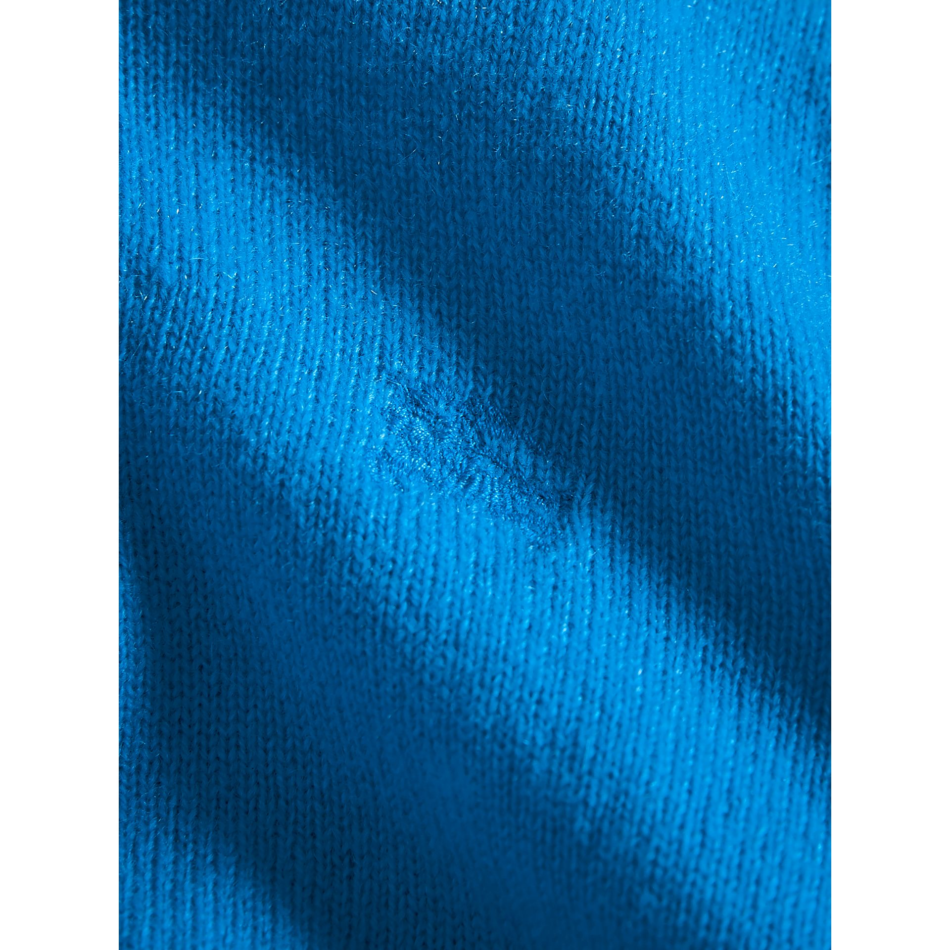 Check Cuff Cashmere Sweater in Cyan Blue | Burberry - gallery image 1