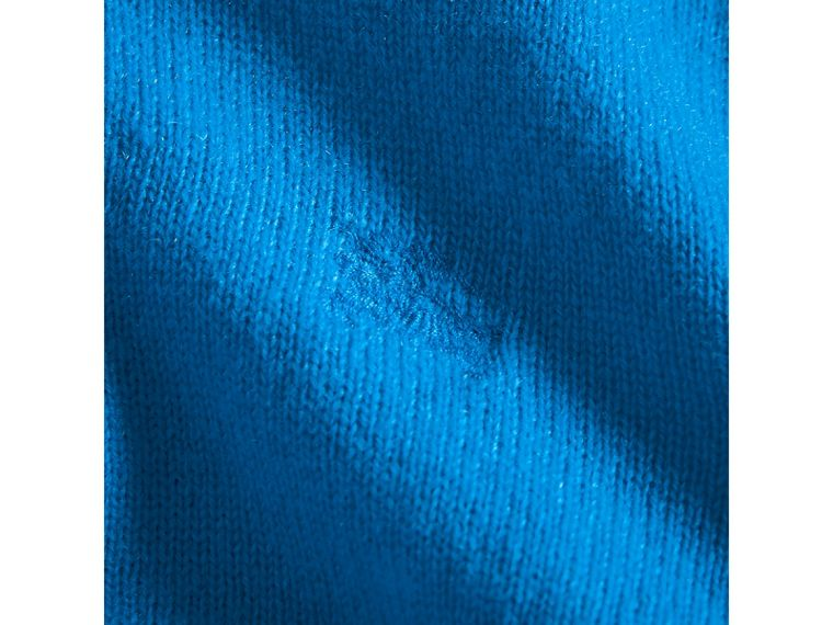Check Cuff Cashmere Sweater in Cyan Blue | Burberry - cell image 1