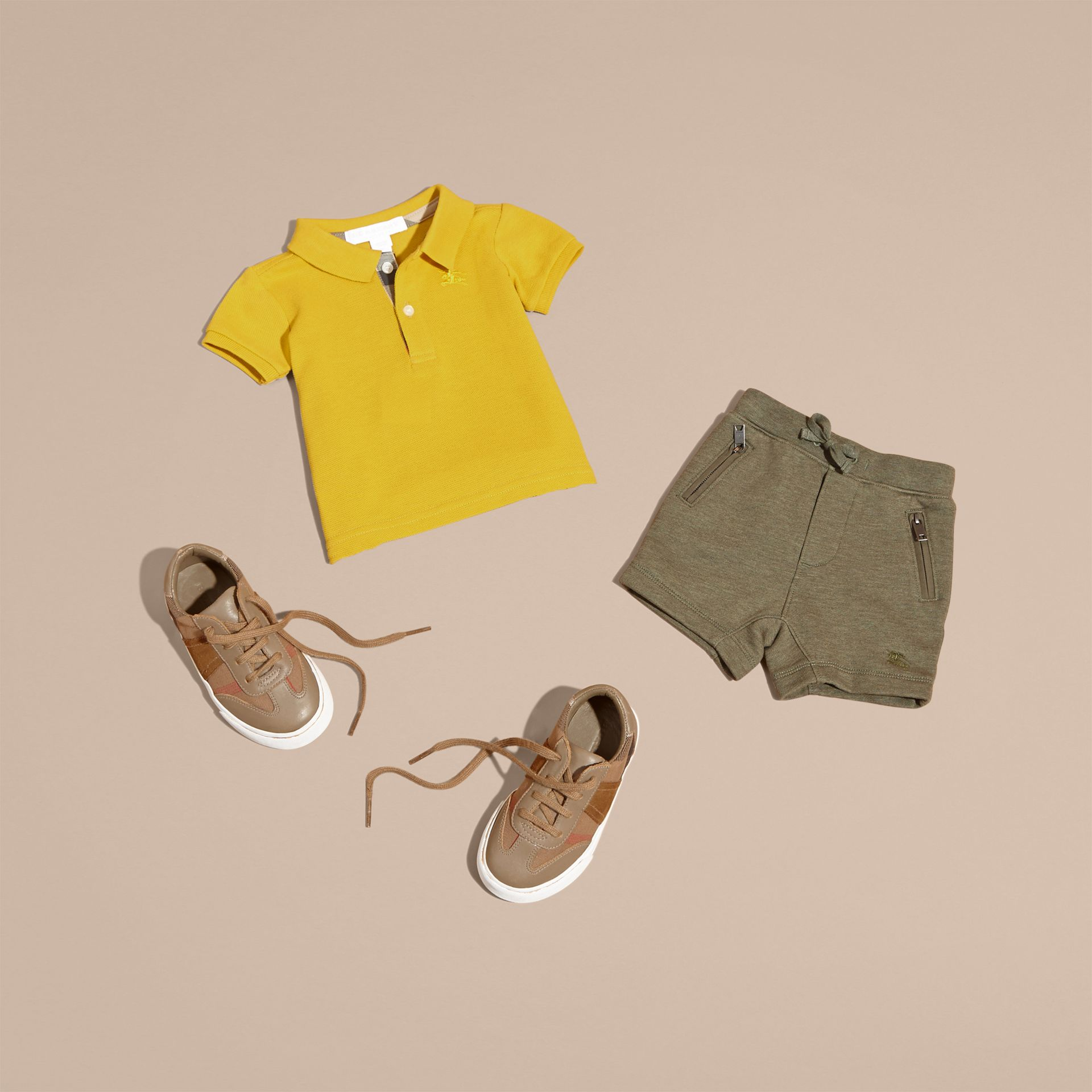 Cotton Jersey Drawcord Shorts in Khaki Green Melange | Burberry - gallery image 5