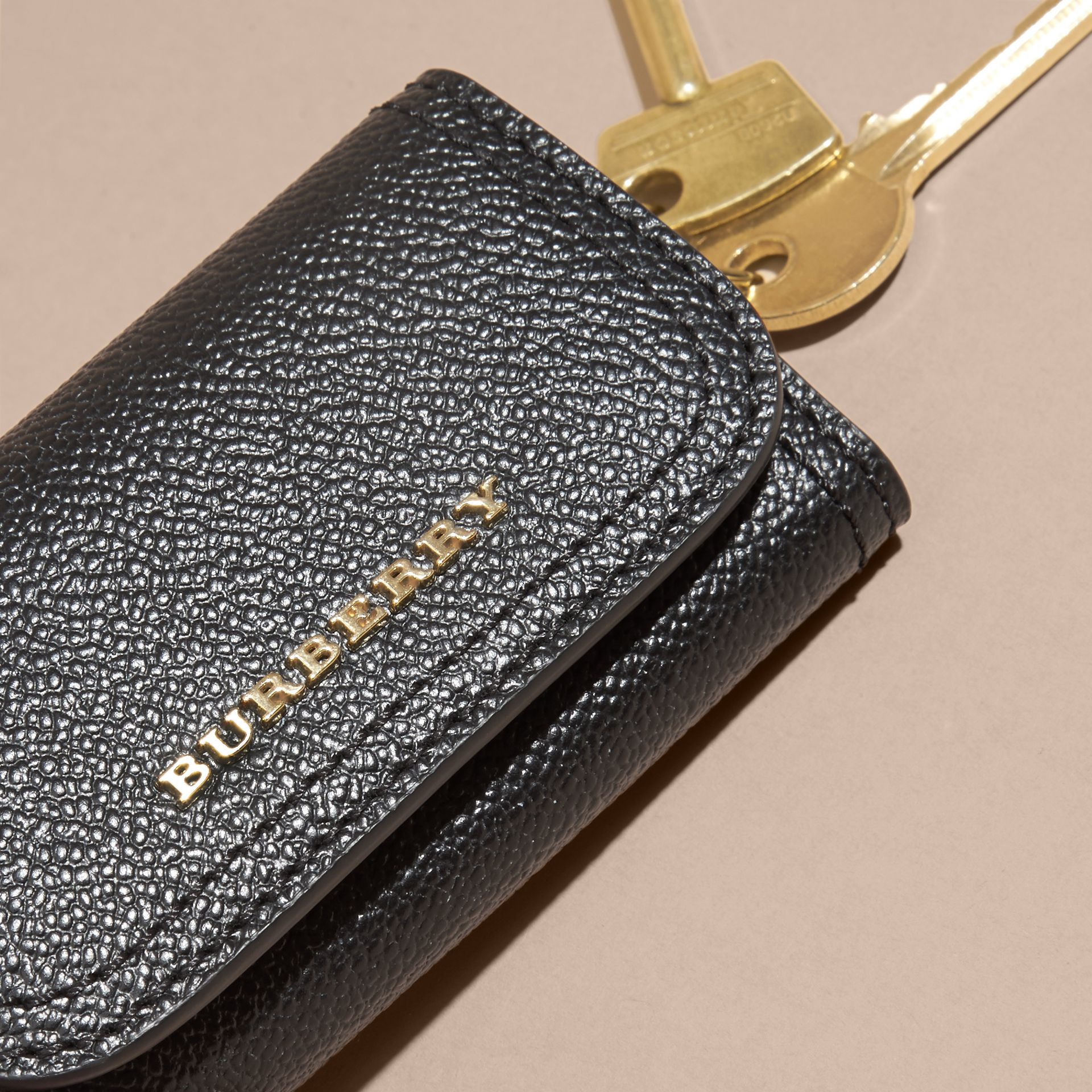 Grainy Leather Key Holder in Black - Women | Burberry - gallery image 1
