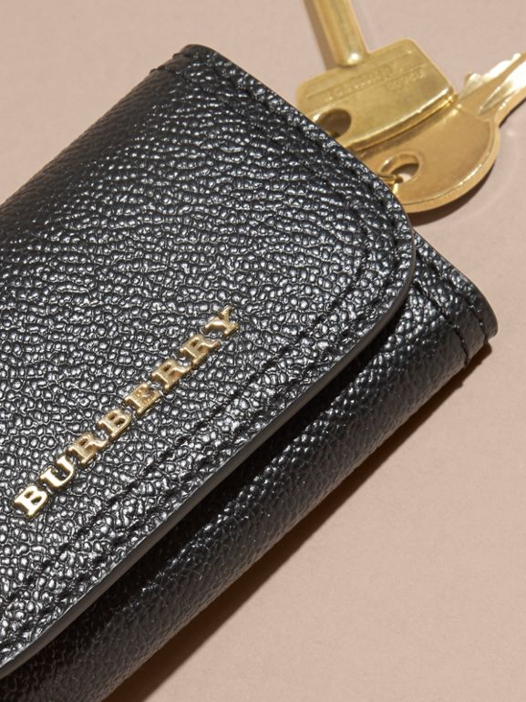 Grainy Leather Key Holder in Black - Women | Burberry - cell image 1