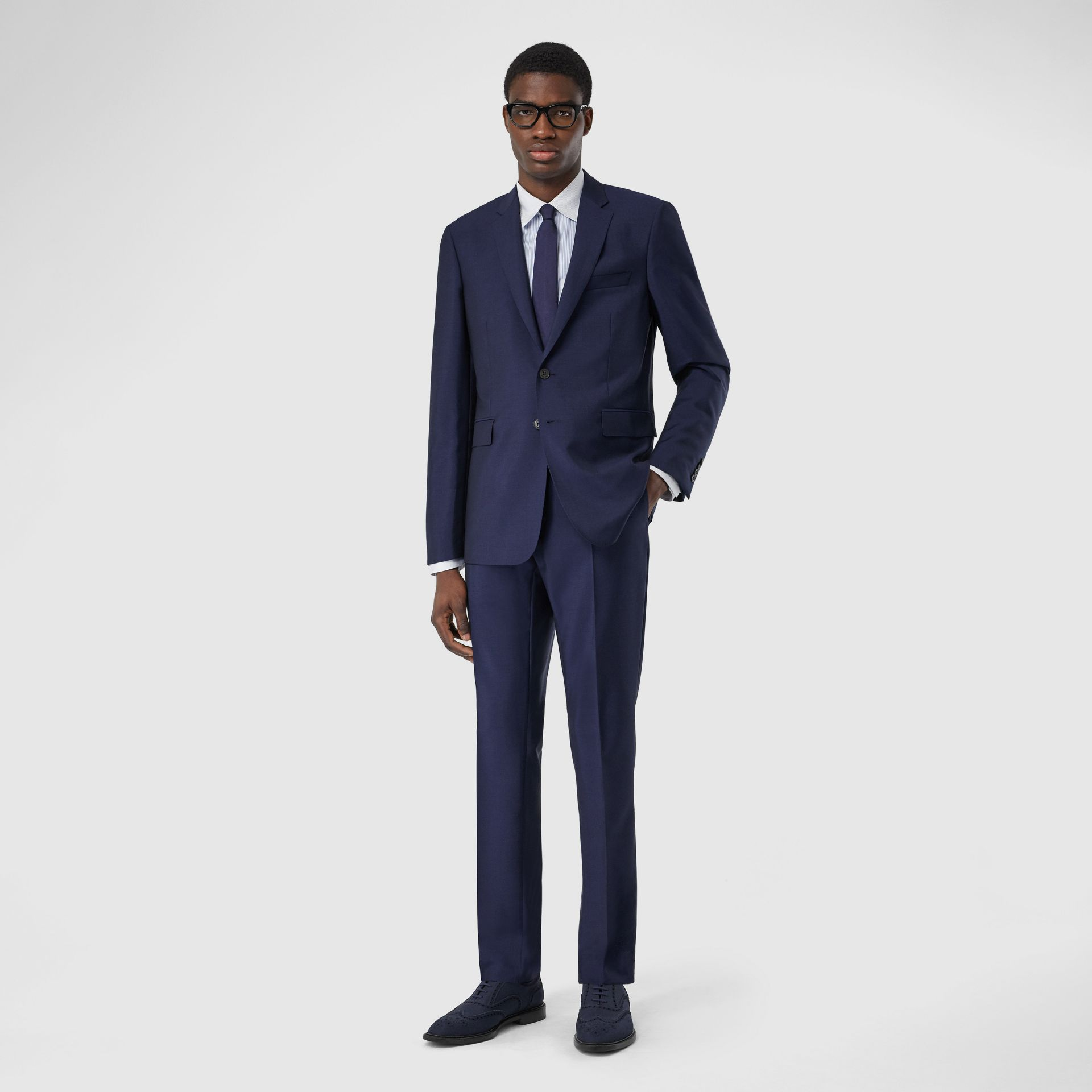 Slim Fit Wool Mohair Suit in Bright Navy - Men | Burberry United Kingdom - gallery image 0