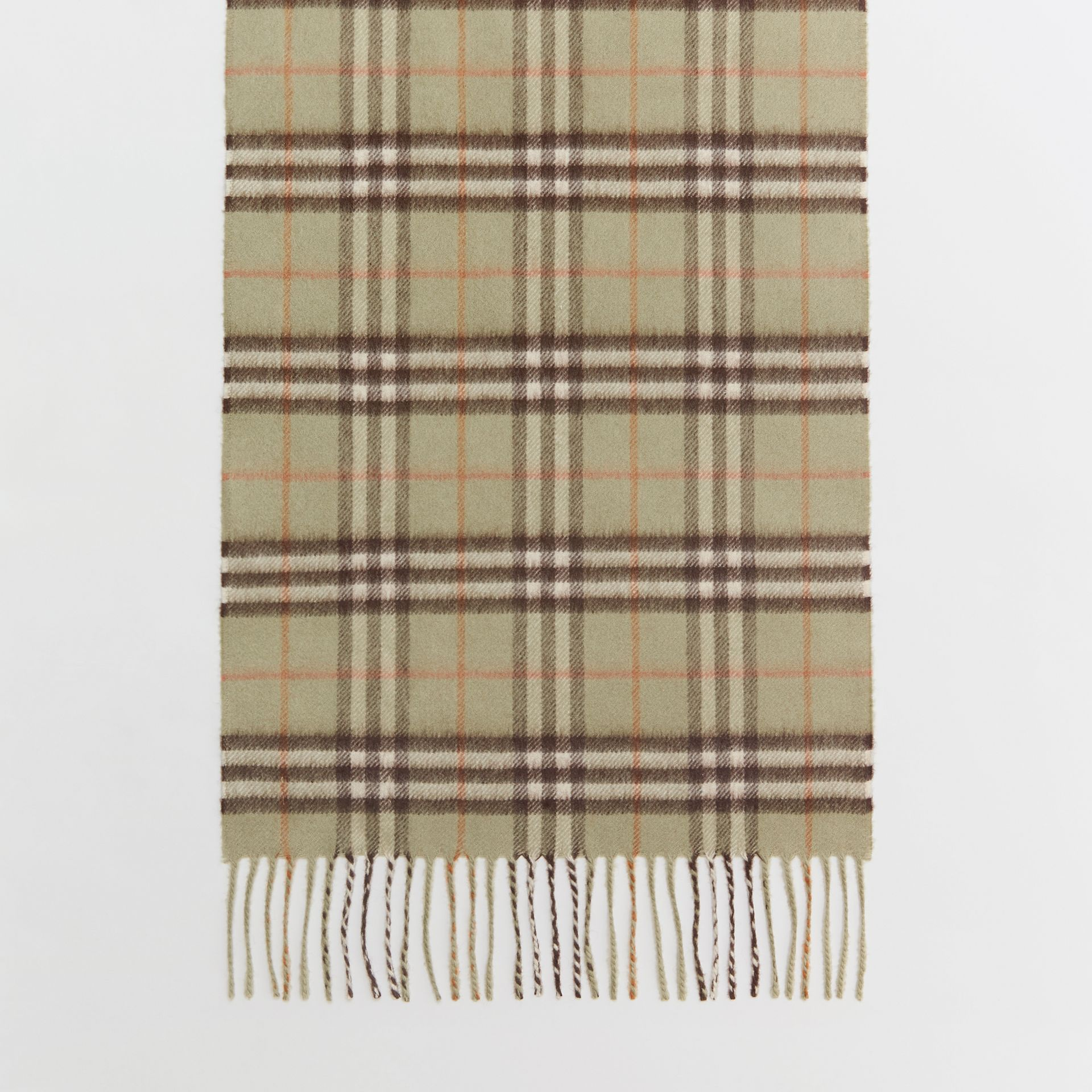 The Classic Vintage Check Cashmere Scarf in Pale Powder Green | Burberry United Kingdom - gallery image 4