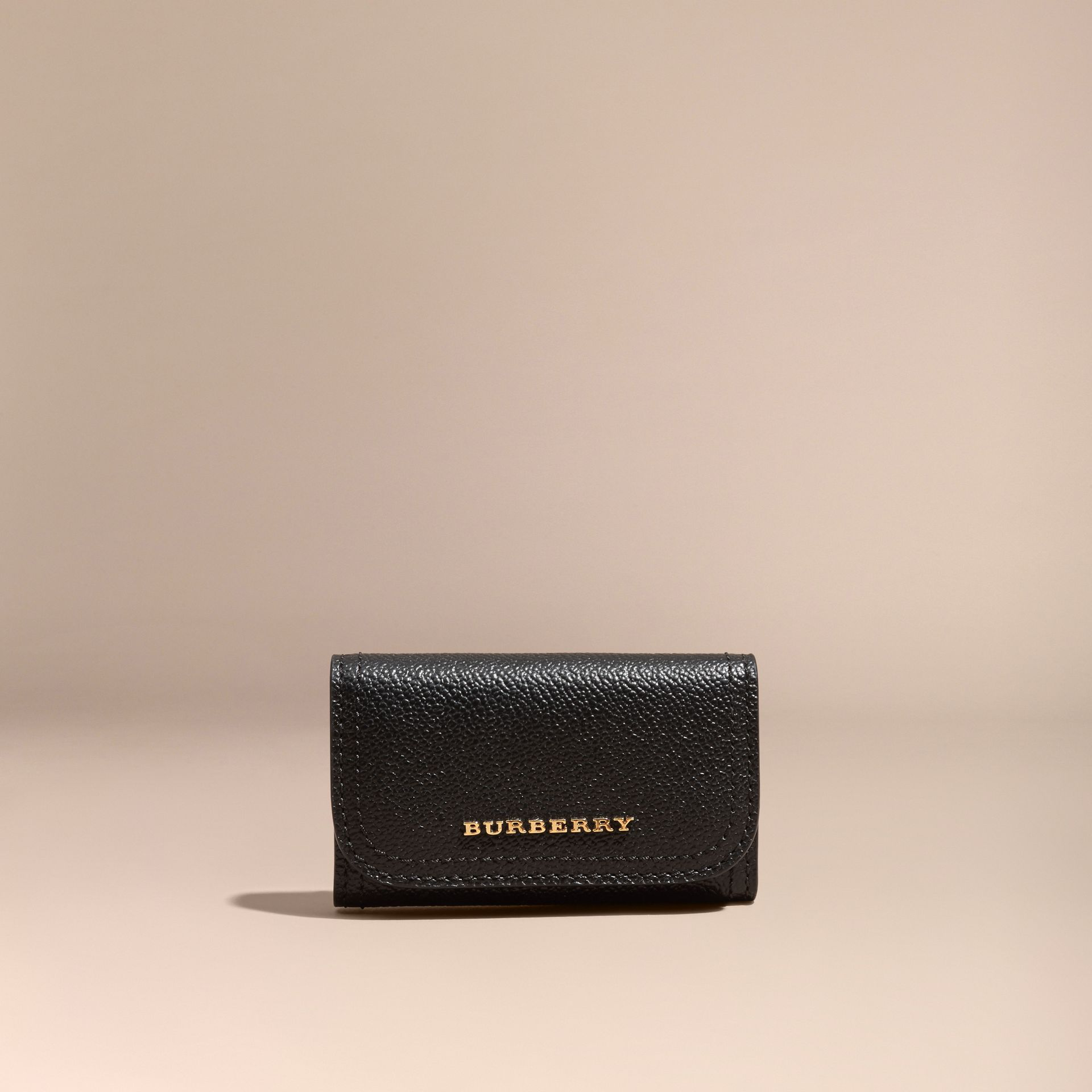 Grainy Leather Key Holder in Black - Women | Burberry - gallery image 6