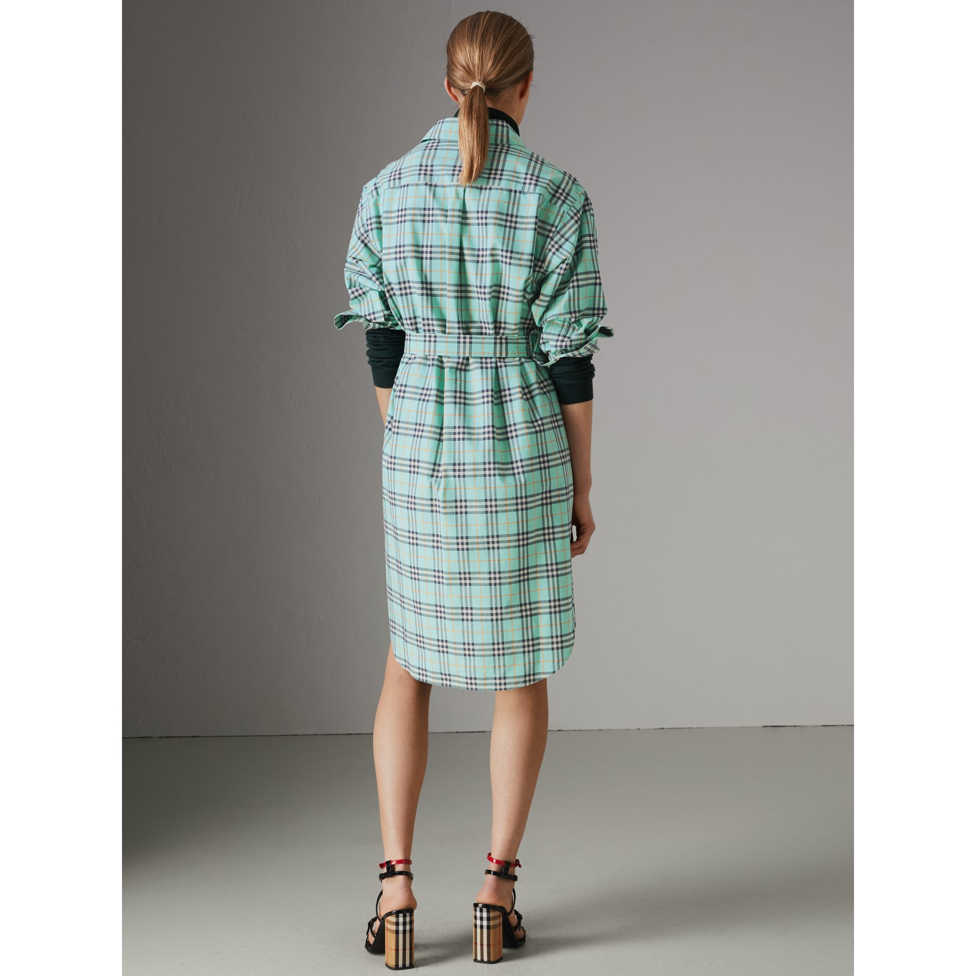 Tie-waist Check Cotton Shirt Dress in Bright Aqua - Women | Burberry - gallery image 2