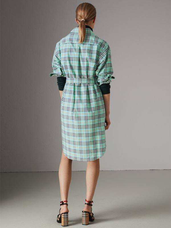 Check Cotton Tie-waist Shirt Dress in Bright Aqua | Burberry - cell image 2