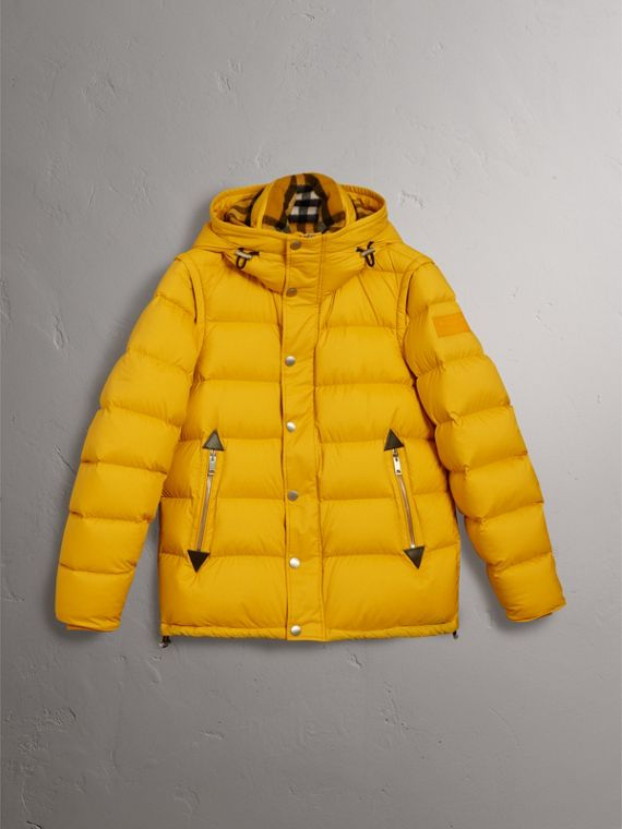 Detachable-sleeve Down-filled Puffer Jacket in Amber Yellow - Men | Burberry - cell image 3