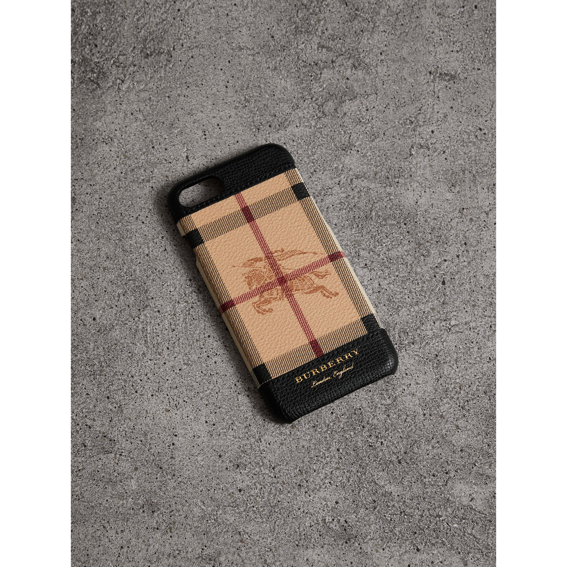Haymarket Check and Leather iPhone 7 Case in Black | Burberry - gallery image 0