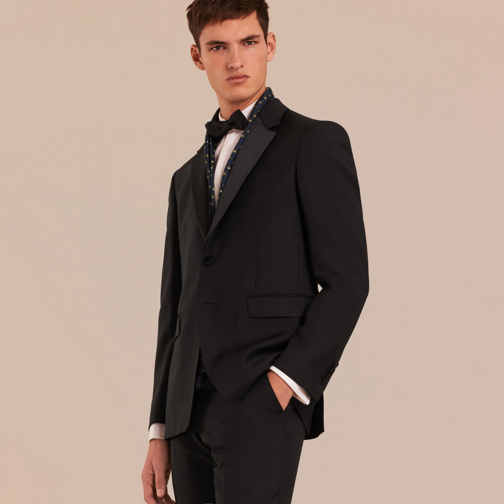 Black Classic Fit Wool Mohair Part-canvas Tuxedo - gallery image 6