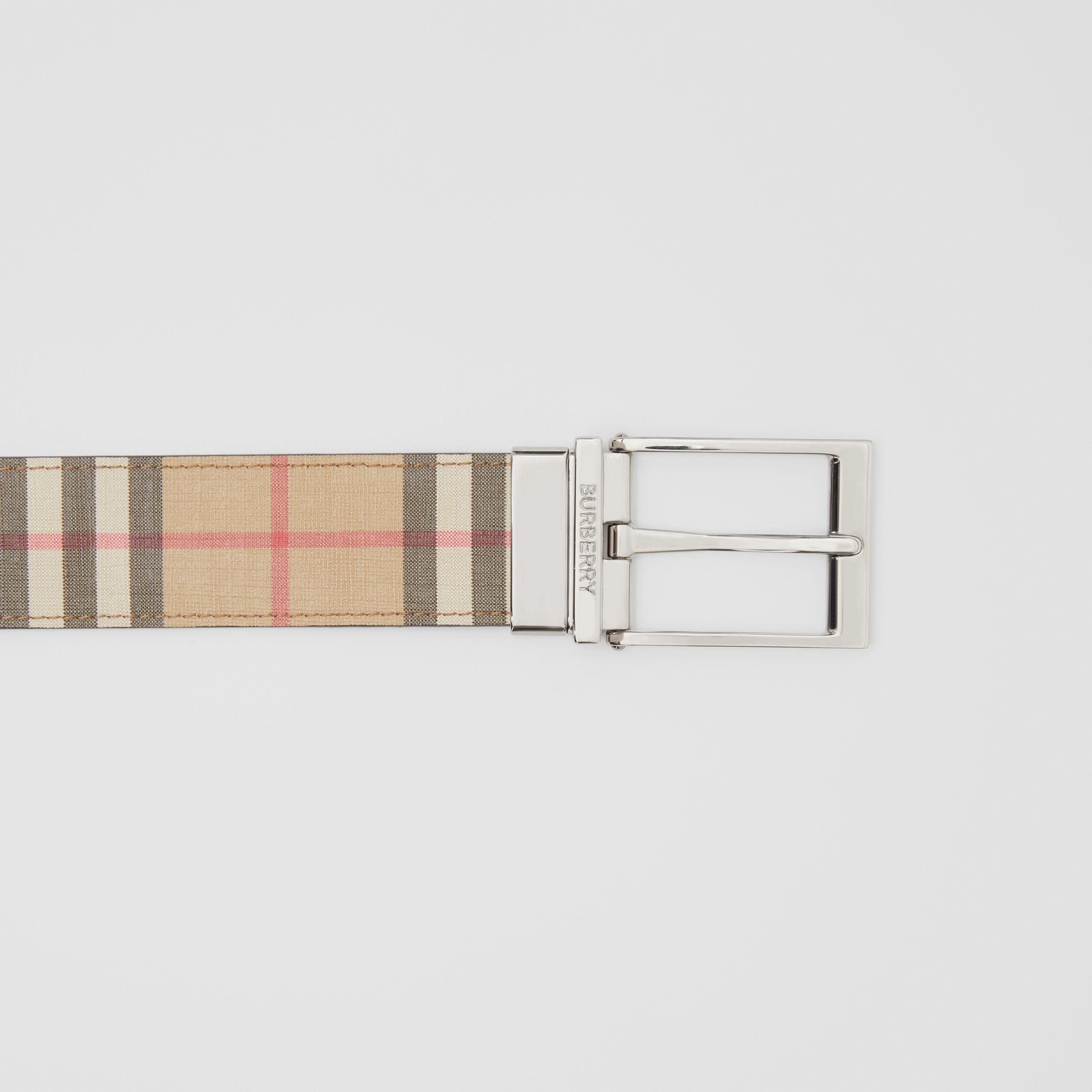 Reversible Vintage Check E-canvas and Leather Belt in Archive Beige/black - Men | Burberry Canada - 2